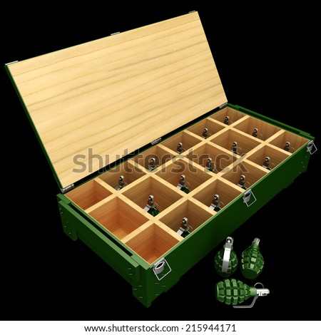 Military box with grenades. Isolated on black background. 3d - stock photo