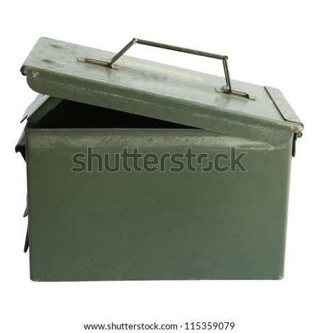 military bullet  box open cover isolated white background - stock photo