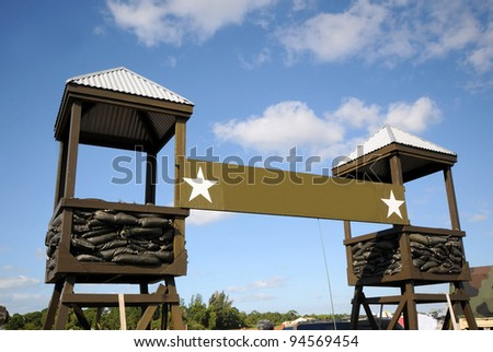 Military camp front entrance and checkpoint - stock photo