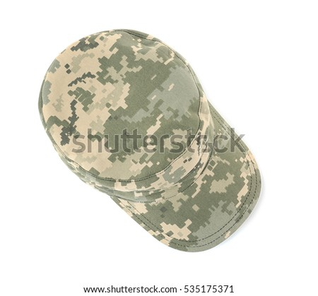 Military cap on white background