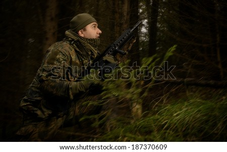Military changes his disposition. Bundeswehr soldier. - stock photo