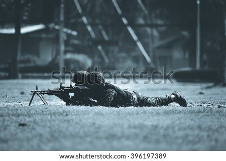 Military combat war fighting attack  - stock photo