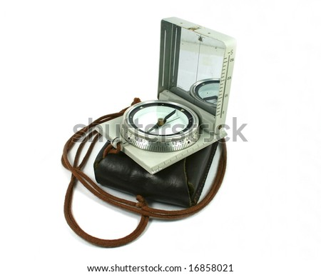 Military compass and his case. Close shoot. - stock photo
