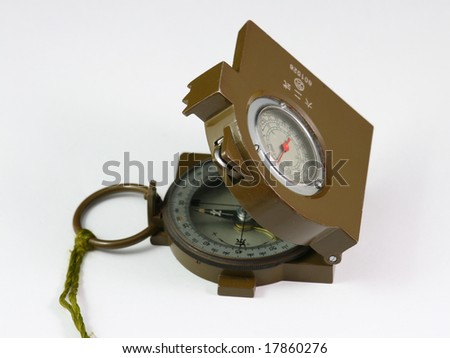 Military compass on white background