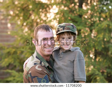 Military Dad and Son - stock photo