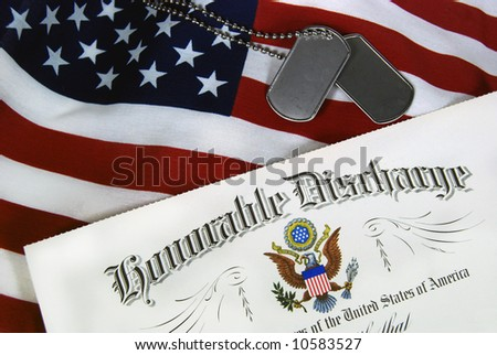 military discharge on flag - stock photo
