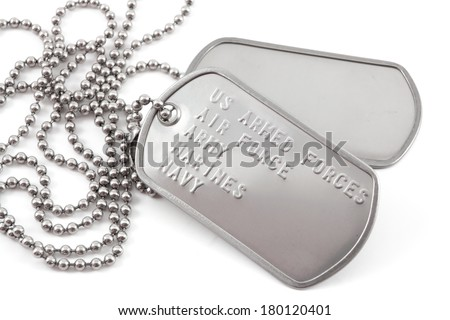 Military Dog Tag close up - stock photo