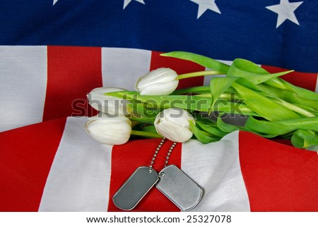 military dog tags and tulips on American flag - stock photo