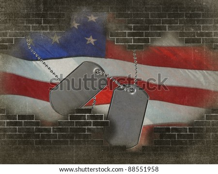 military dog tags on flag with broken brick wall
