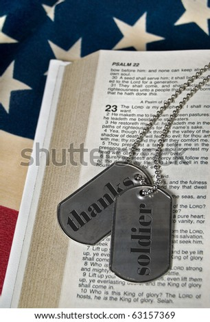 military dog tags on psalm 23 - stock photo
