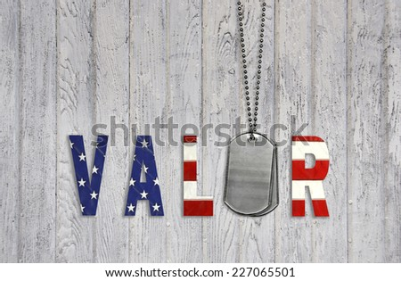 military dog tags with flag font on weathered wood for valor - stock photo