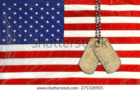military dog tags with United States constitution on American flag - stock photo