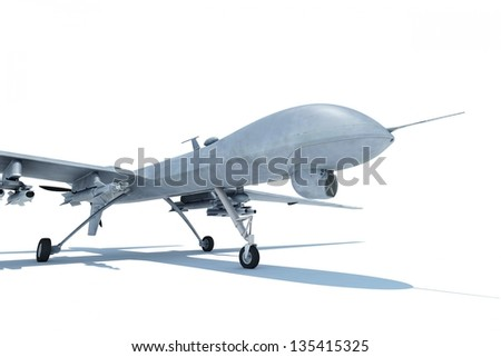 Military drone standing on white ground isolated - stock photo