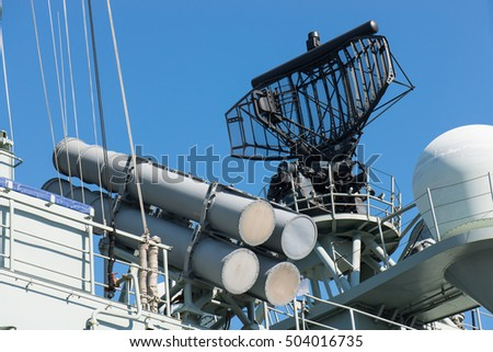 military equipment on the warship