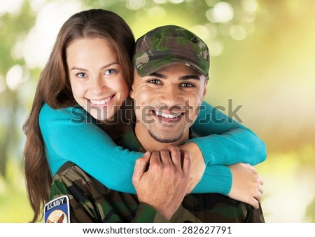 Military, Family, Armed Forces. - stock photo