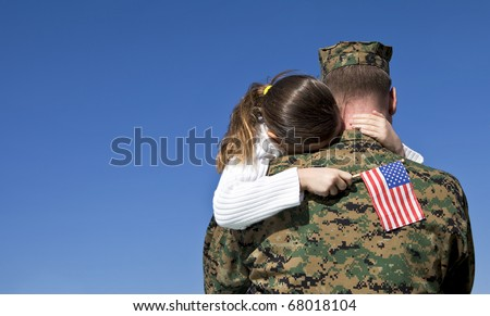Military Father and Daughter Reunited - stock photo