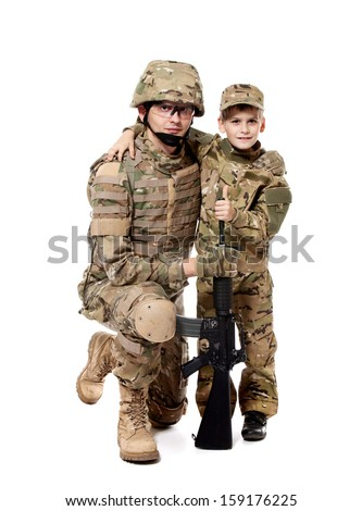 Military Father and Son isolated on white background - stock photo