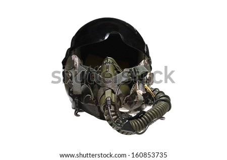 Military flight helmet isolated - stock photo