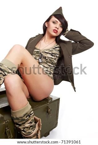 Military glamor pin-up girl - stock photo
