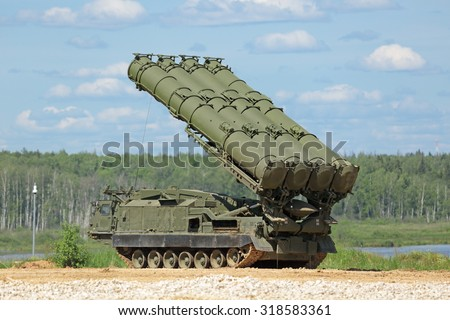 MILITARY GROUND ALABINO, MOSCOW OBLAST, RUSSIA - JUN 18, 2015: Canoniac launcher air defense S-300 (NATO reporting name SA-10 Grumble) at the International military-technical forum ARMY-2015 - stock photo
