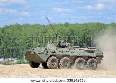 MILITARY GROUND ALABINO, MOSCOW OBLAST, RUSSIA - JUN 18, 2015: The BTR-82a is a Russian 8x8 wheeled amphibious armoured personnel carrier (APC) at the International military-technical forum ARMY-2015