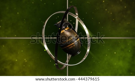 Military Hand Grenade with Metallic Sight Target. 3D Illustration. - stock photo