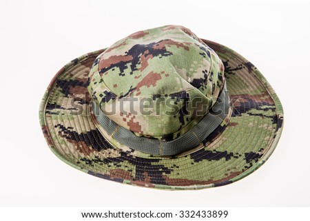 Military hat on white background
