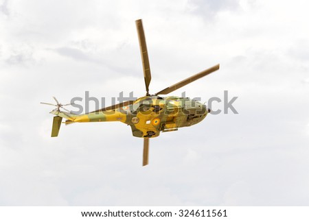 Military helicopter landing - stock photo