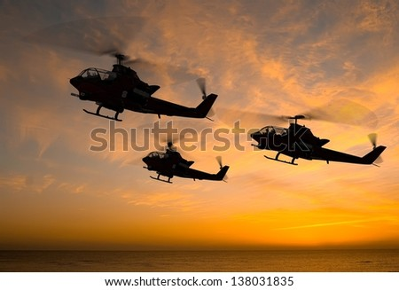 Military helicopter on a background sky - stock photo
