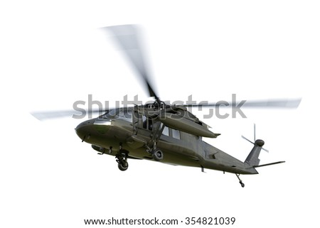 Military helicopter UH-60 Black Hawk realistic 3d render. - stock photo