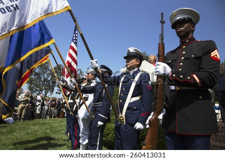 Military Honor guard at Los Angeles National Cemetery Annual Memorial Event, May 26, 2014, California, USA, 05.26.2014 - stock photo