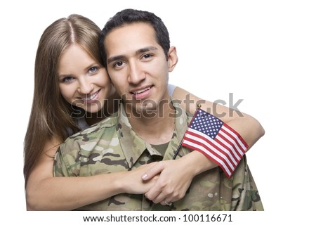 Military Husband and Wife - stock photo