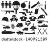 military icons (knife, handgun, bomb, bullet, gas mask, sword, helmet, captain hat, explosion, dynamite, tent, machine gun, beret, aircraft carrier, battleship) - stock vector