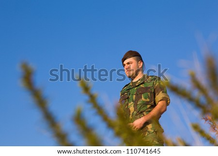 Military in the top of a mountain - stock photo