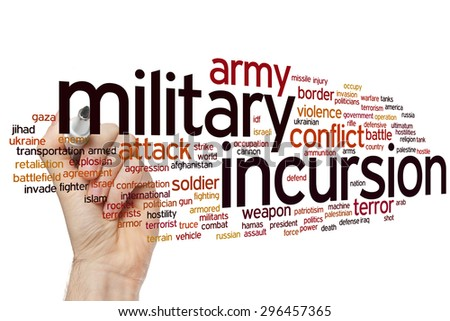 Military incursion concept word cloud background - stock photo