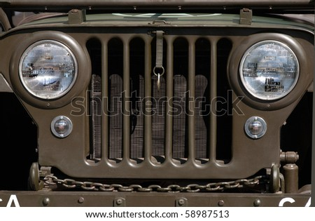Military jeep grill - stock photo