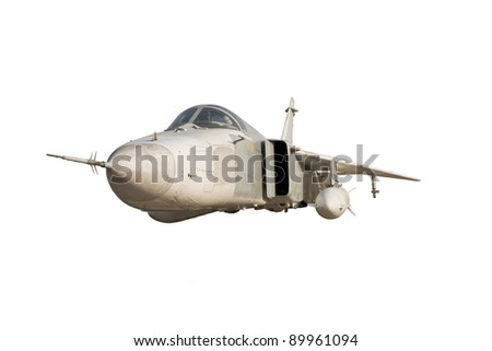 Military jet bomber Su-24 Fencer flying a white background. - stock photo