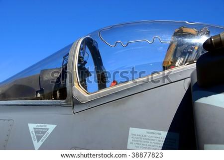 military jet fighter cockpit - stock photo