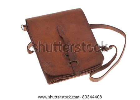 Military leather map-case of the Soviet officer isolated on white - stock photo