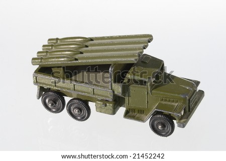 Military machine model on a white background - stock photo