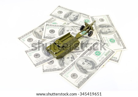 military machine on the dollar bill