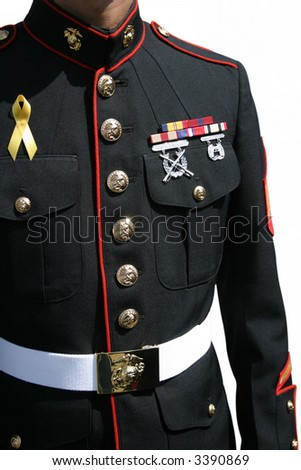 Military man in uniform - salutes those who serve - stock photo