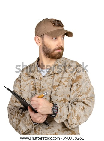 Military man in us uniform isolated on white background - stock photo