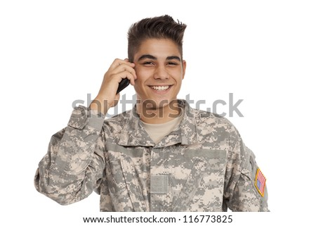 Military man talking on cell phone - stock photo