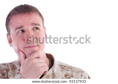 Military Man Thinking - stock photo