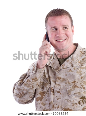 Military Man with Cell Phone - stock photo
