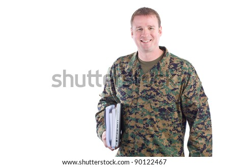 Military Man with School Books - stock photo