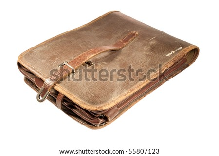 Military map-case of the Soviet officer isolated on white - stock photo