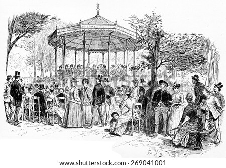Military Music in the Luxembourg Gardens, vintage engraved illustration. Paris - Auguste VITU  1890. - stock photo