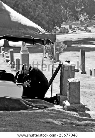 Military officer in uniform at funeral - stock photo